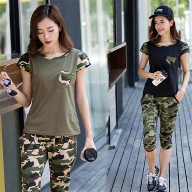 2017 summer army camouflage suit women short sleeve o neck pants womens tracksuit two piece set plus size