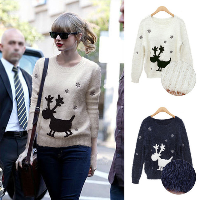 animal reindeer christmas winter 2014 sweater for women cute snowflake  fluffy moose pullover female sweaters and pullovers c4bc90f25