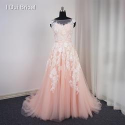 Vestido De Noiva рукавов Румяна свадебное платье суд Поезд настоящая фотография линия Кружева аппликация