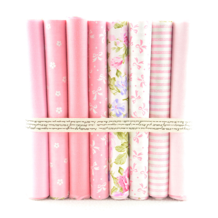20 CM X 50 CM 8 Diseños de color rosa rosa 100% Paquete de tela de Algodón colch