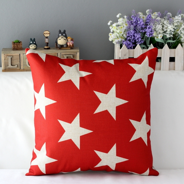 Red Navy Star Cushion Cover Sofa Cotton Linen Pillowcase Purple Gray Inspiration Red And Gray Decorative Pillows