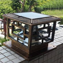 D40*H35cm Outdoor Lamp Garden Lights Decoration Solar Pillar Black Or Brown Free Shipping 1pc