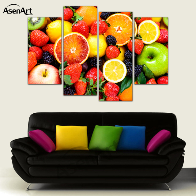 4 Pannello di Tela Colorate Frutta Mela Arancia Pittura per cucina ...