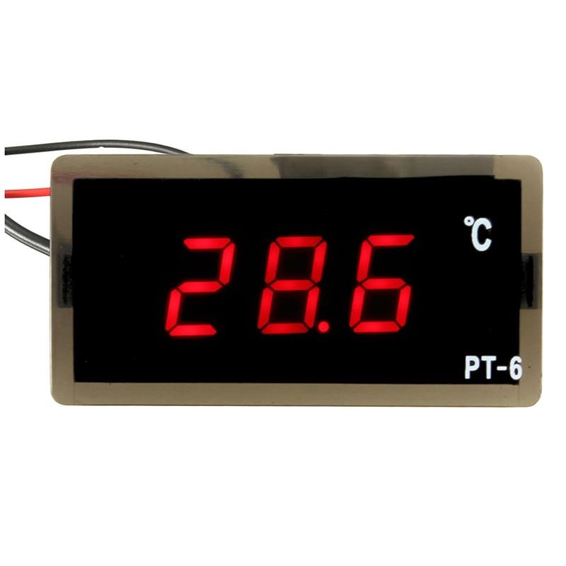 RINGDER 12V Car PT-6 Digital Thermometer LED Embedd Temperature Meter Sensor Probe -40~110 Degrees Celsius 0 56 red blue dual display digital led thermometer temperature meter waterproof metal probe sensor module 20 100 celsius