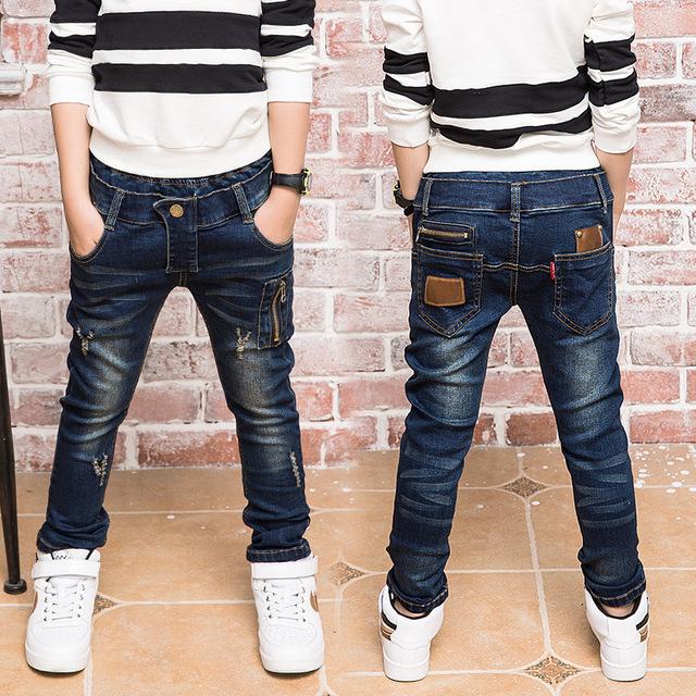 Presente de Ano novo, calças de brim menino para crianças desgaste estilo elegante e de alta qualidade crianças calças de brim, meninos jeans rasgado, 3-14 anos de idade