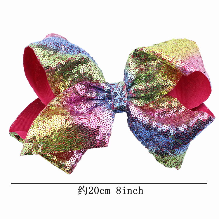8 inch Jumbo Sequin Rainbow Bow Hair Clip For Girls Kids Boutique Knot Girl Hairbow Glitter Hairgrips Baby Hair Accessories (4)