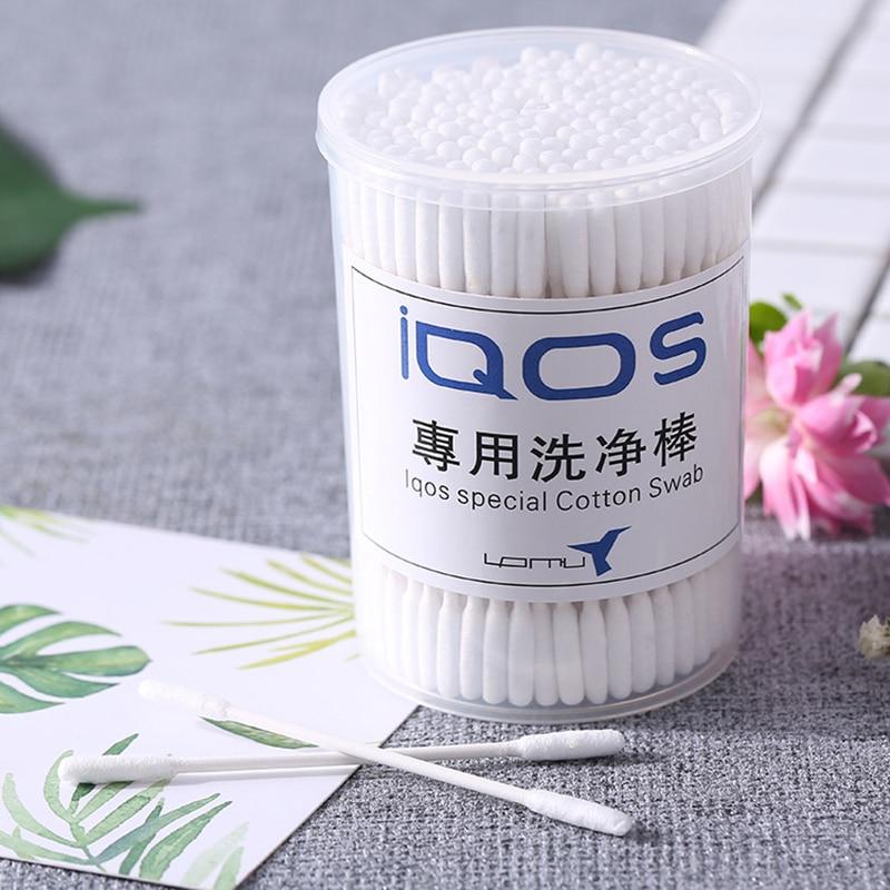 Clean Cotton Swabs For IQOS E-cigarette Cleaning Cotton Swabs 100pcs Blue or 200pcs White Electronic Cigarette Accessories