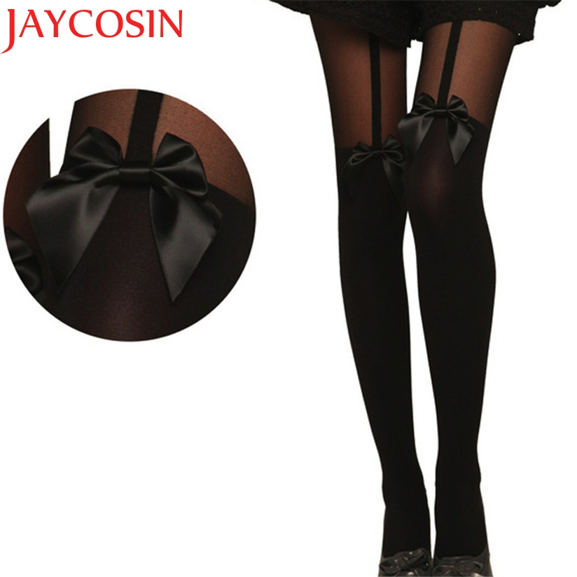 JAYCOSIN New Fashion Women Vintage Tights Bow Pantyhose Tattoo Mock Bow Suspender Sheer Stockings Drop Shipping