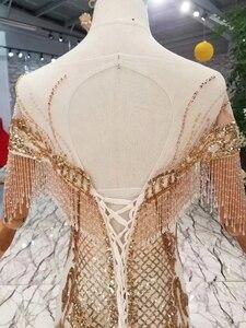 Image 5 - LS22005 luxury mermaid wedding dresses with golden lace o neck tassel short sleeves open back trumpet robe de mariée sirène