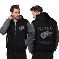 Men Game Of Thrones House Stark Men Sweatshirt Hoodie 2018 Spring Winter Warm Fleece Thicken Men