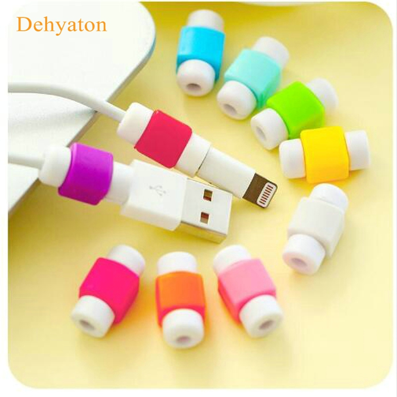 Dehyaton Cable Protector Data Line Colors Cord Protector Protective Case Long Size Cable Winder Cover For iPhone USB Charging все цены
