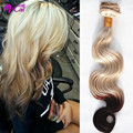 Ombre 2 Tone Blonde Brown Clip In Hair Unprocessed Malaysia Virgin Hair Body Wave10pc/set Blonde Clip In Human Hair Extensions