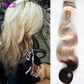 Ombre 2 Tono Castaño Rubio Clip En Pelo Sin Procesar Malasia Pelo Virginal Cuerpo Wave10pc/set Clip Rubia En Humanos Extensiones de cabello