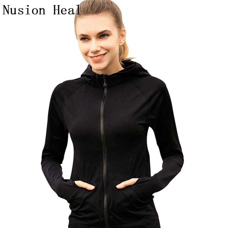 NUSION HEAL Frauen Yoga Shirts Laufen Sport Jacken Polyester Langarm Fitness Laufjacke Frauen Laufen Sportbekleidung T-shirt