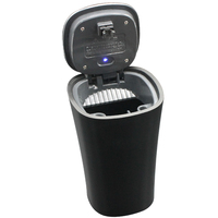 Universal Car Cigarette Ashtray Solar Power Detachable Storange Box Cup Holder Smokeless Blue LED Light Cover