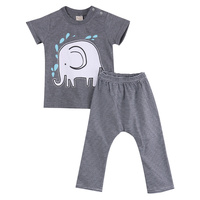2016 Wholesale Toddler Baby Boys Clothes Elephant Cotton Short Sleeve Tops Striped Long Pants 0 24M