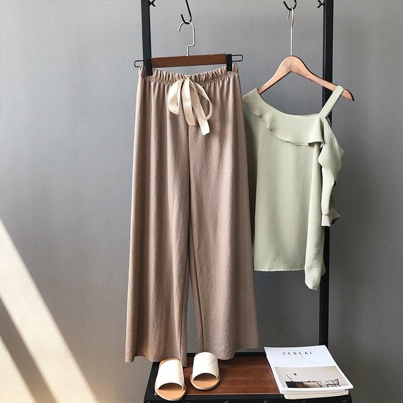 2018 frühling Sommer Grau Weiche Baumwolle Breite Bein Hosen Frau Elastische Taille Mode Khaki Lose Dünne Beiläufige Knöchel Länge Hosen