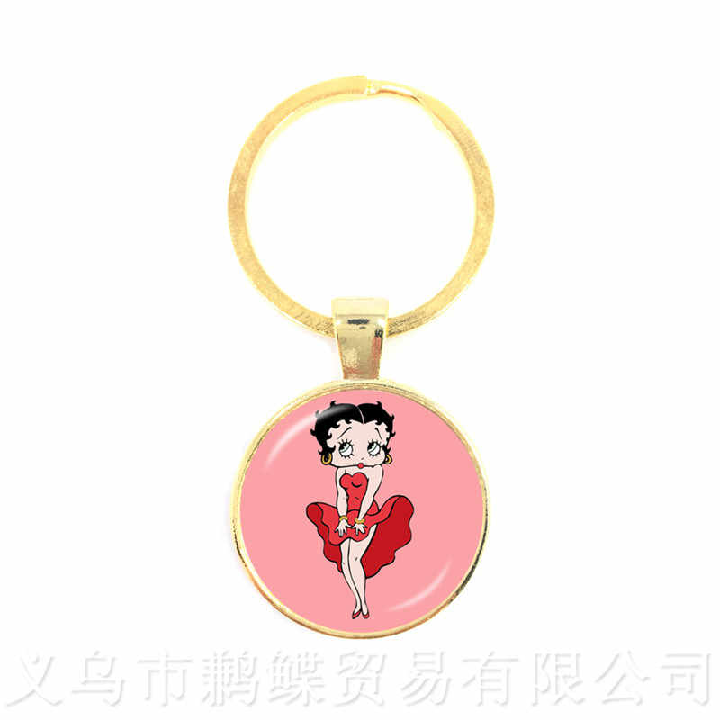 New Style Keychains Betty Boop Art Picture Glass Cabochon Pendant Keyring Fashion Jewelry Best Gift For Him