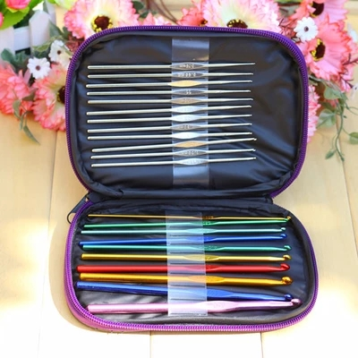 22Pcs Set Multi-colour Aluminum Crochet Hooks Needles Knit Weave Craft Yarn Sewing Tools Knitting Needles Ganchos De Croche 104pcs sewing craft steel knitting tool sets knitting needles straight circular knitting needles crochet hook