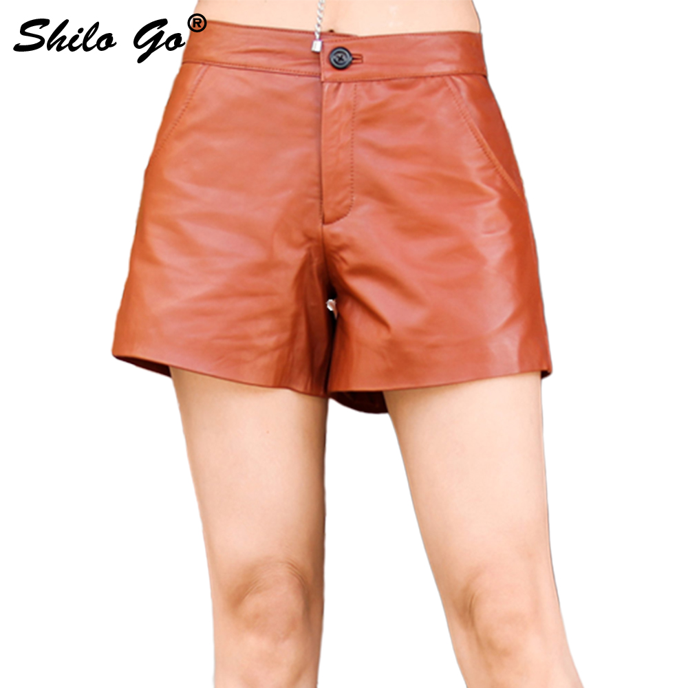 SHILO GO Leather Shorts Womens Spring Fashion Sheepskin Genuine Leather Shorts High Waist Single Button Casual Concise Wide Leg