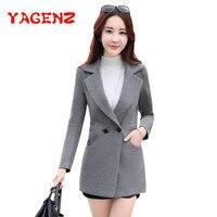 YAGENZ Autumn And Winter Wool Coat Women short Woolen Jacket 2018 Korean Coat Female Elegant Long sleeve Double Pocket Nizi Tops