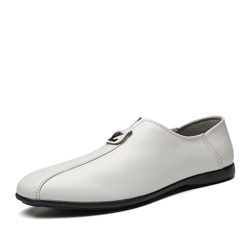 Noir Cuir Conduite Partie Blanc De Chaussures Casual Sur Mocassins Faible Sneakers blanc Fainéant Hommes Véritable En 8U5q5Ax6wr