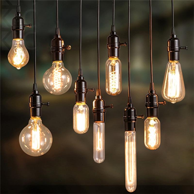 Kaigelin Retro Edison Light E14 E27 Incandescent Bulb ST64 G80 Filament Bulb Squirrel-Cage Carbon Bulb Vintage Bulb Pendant Lamp