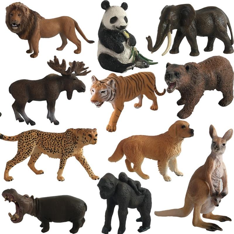 1pc Animal Model Action Figures Zoo Park Simulation Tiger Lion Panada Kangaroo Models For Kids Early Education Toy 40pcs set plastic zoo animal figure tiger panda giraffe kids toy lovely animal action figures toys set decoration gift e