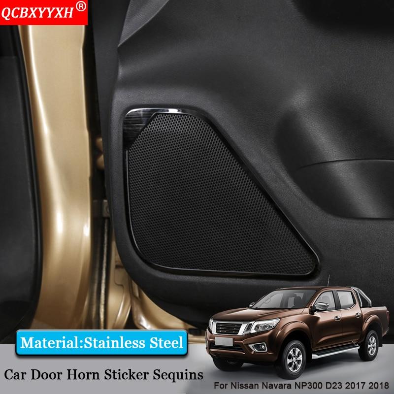 QCBXYYXH Car-styling Car Door Horsing Speaker Sound Ring Frame Interior Decorative Sequins For Nissan Navara NP300 D23 2017 2018