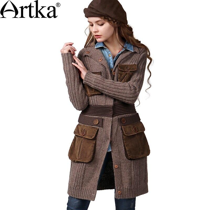 ARTKA Женская зимняя Винтажная с круглым вырезом с длинным рукавом однобортная широкая талия средней длины шерстяной кардиган свитер WB14147D