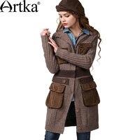ARTKA женский зимний винтажный с круглым вырезом длинный рукав однобортный с широкой талией средней длины шерстяной кардиган свитер WB14147D