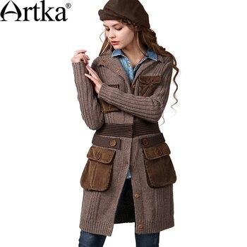 ARTKA Women'S Winter Vintage O-Neck Long Sleeve Single Breasted Wide-Waisted Mid-Long Woolen Cardigan Sweater WB14147D