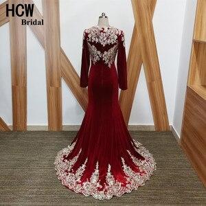 Вечернее платье Русалочки с длинными рукавами бордового цвета, новейшее платье высокого качества с кружевной аппликацией, вельветовые дли...