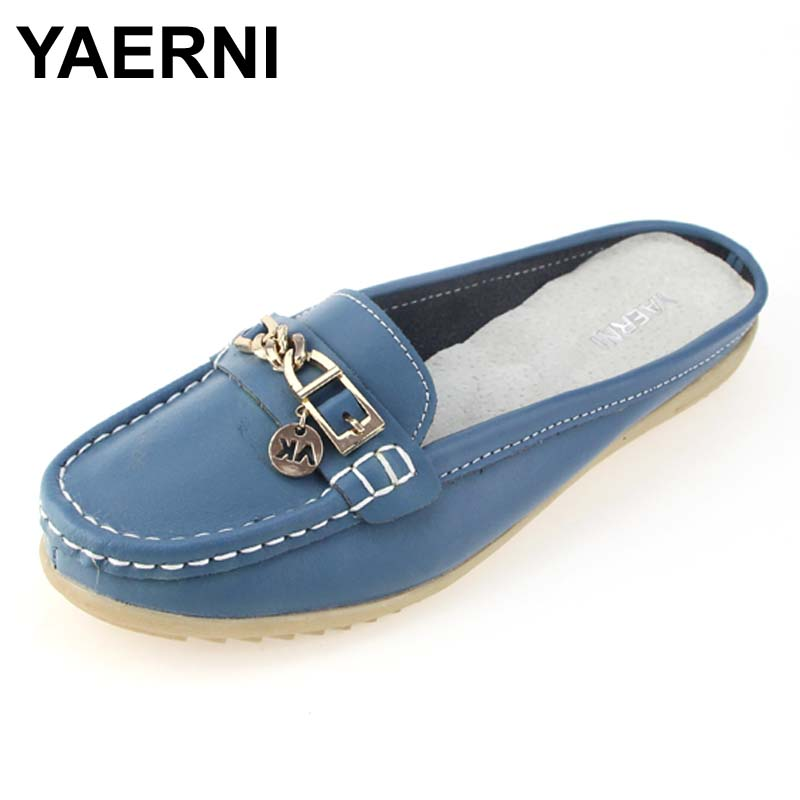 New arrival solid women sandals summer slippers flip flops Genuine Leather flat sandals ladies slip on flats clogs shoes woman
