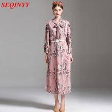 2XL Casual Pleated Dress 2017 Summer Shawl Neckline Flower Printed Flare Wrist  Sleeve Women's Pink Midi Loose Dress With a Belt стоимость