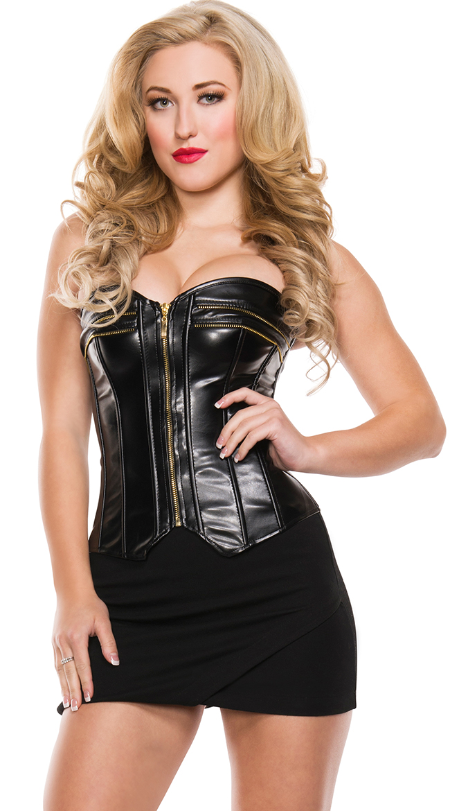 Seductress Black Faux Leather Corsets and Bustiers Women Sexy Overbust Night Clubwear