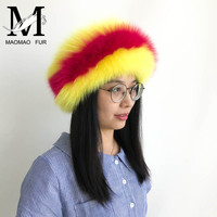 Women Real Fur Headband Winter Autumn Natural Fox Fur Headbands Ladies Luxury Whole Skin Double Color Custom Fur Headwarps