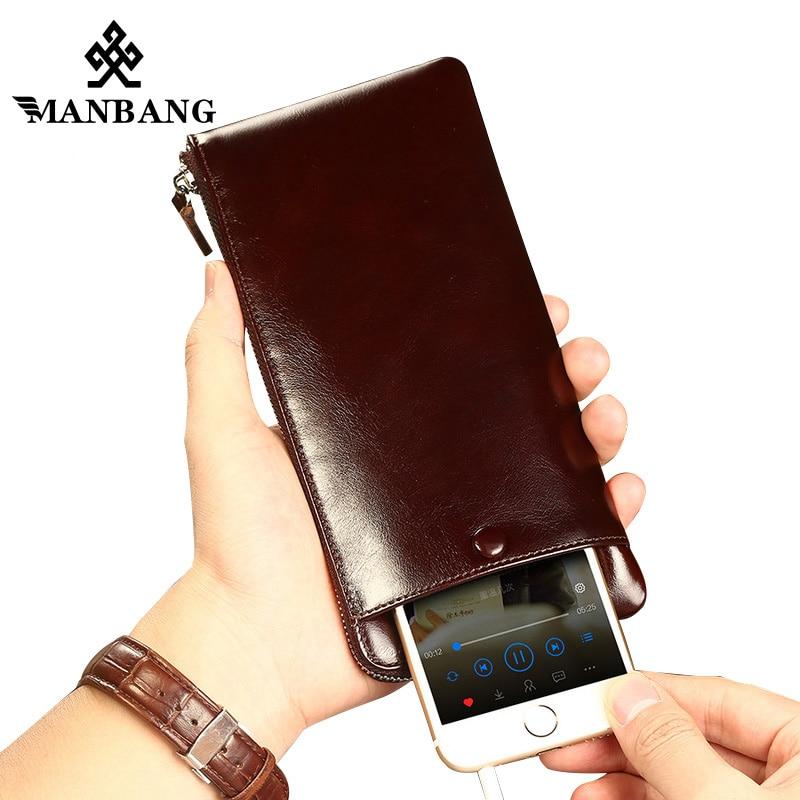 be5dd41e5273 ManBang 2018 New Fashion Men Wallets Genuine Leather Zipper Wallet men s  Long Design Purse For Man
