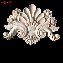Wood Carved Corner Flower Carving Decorative Appliques for Furniture Unpainted Mouldings Decal Figurine