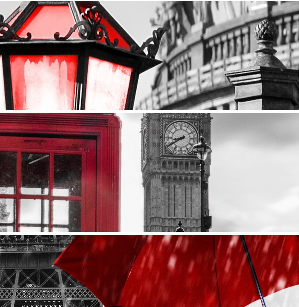 Black and White Tower Red Umbrella Canvas Painting Paris Street Wall Art Poster Prints Decorative Picture for Living Home