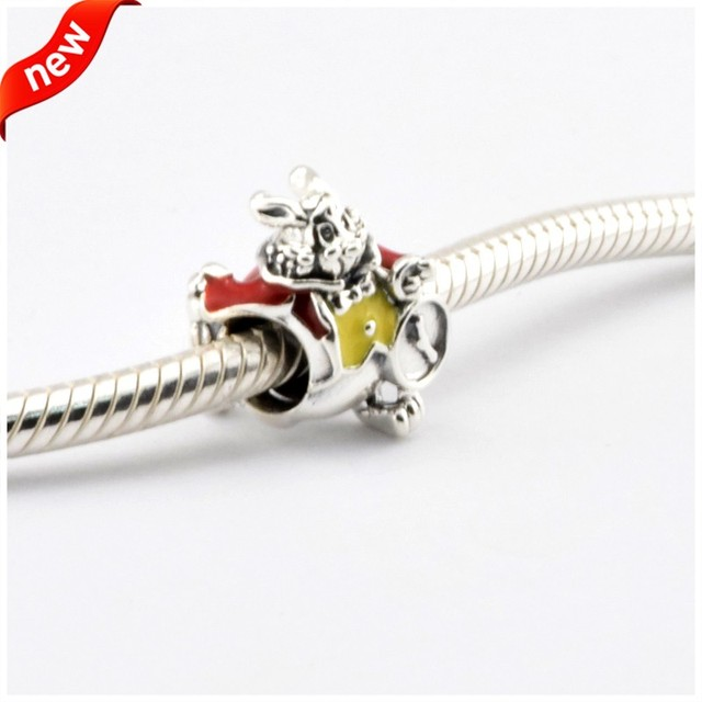 Disny White Rabbit Beads Fits Pandora Charms Bracelets Red&Yellow Enamel Disny Jewelry 925 Sterling Silver 2016 Spring Jewelry