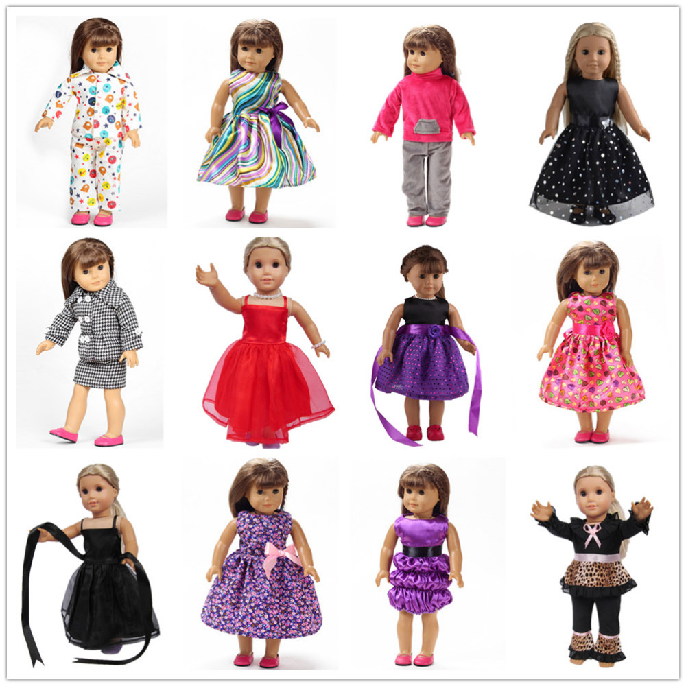 12 Colors American Girl Doll Dress 18 Inch Doll Clothes And Accessories Dresses 15 colors american girl doll dress 18 inch doll clothes and accessories dresses