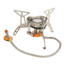 TOMSHOO Newest Outdoor Mini Gas Stove Burners Portable Foldable Split Oven for Camping Hiking Picnic with a box