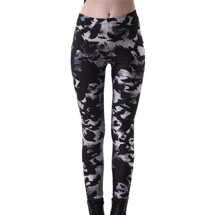Plus size 4XL Sportings Women's Black Milk Workout Leggings Crow Printed Fitness Pant Slim Jeggings Trousers Yuga Slim 2018