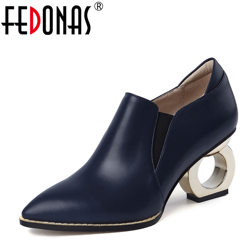 FEDONAS Brand Women Strange Style High Heels Pumps Genuine Leather Autumn New Shoes Woman Pointed Toe Wedding Party Prom Shoes fedonas high quality women genuine leather shoes woman high heels sexy pointed toe silver gold wedding party shoes female pumps