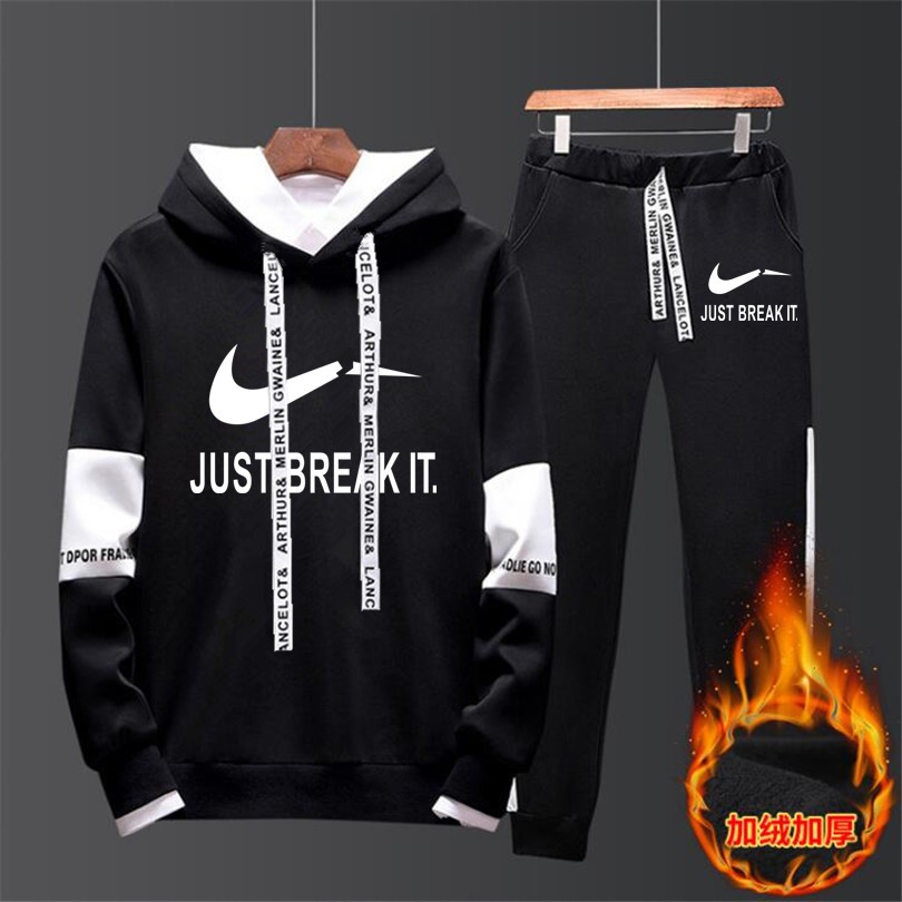 Brand Tracksuit Pants Sportswear-Sets Hoodie Thermal-Underwear Fleece Malechandal Thick