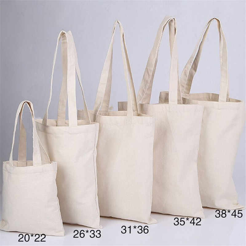 7e0f1f9e65 300pcs lot White Canvas Plain Shopping Bag foldable Reusable Grocery Bags  Cotton Fabric Eco Tote