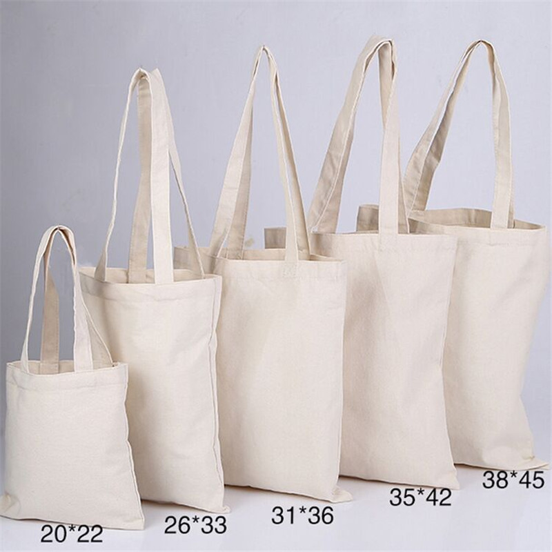 300pcs/lot White Canvas Plain Shopping Bag foldable Reusable Grocery Bags Cotton Fabric Eco Tote Bag custom logo bag cotton tote