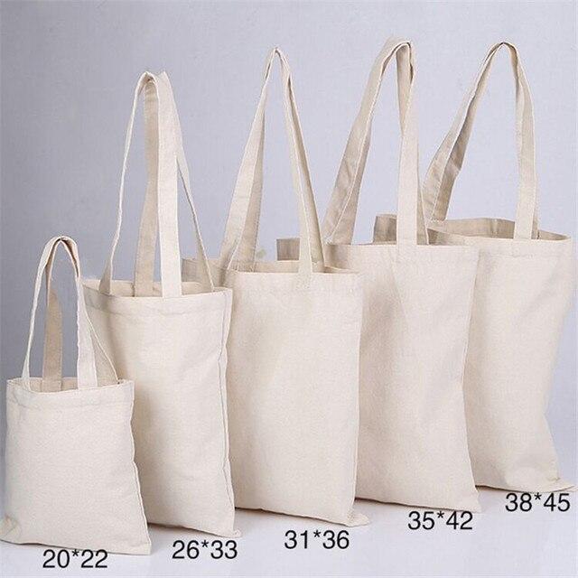 300pcs Lot White Canvas Plain Shopping Bag Foldable Reusable Grocery