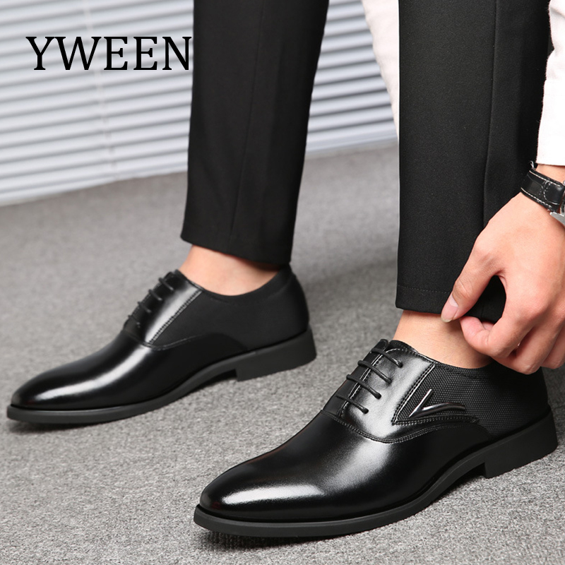 YWEEN Lace-Up Men's Dress Shoes High Quality Oxford Shoes Men Fashion Business Shoes size eur38-eur48 yween new men brogue dress shoes with lace up business leather shoes large size